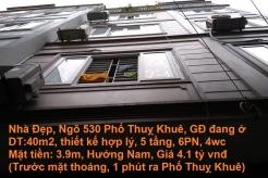 Bán nhà 40m2, 5 tầng, Hướng Nam, Ngõ 530 Thuỵ Khuê, Ba Đình, Hà Nội ( Xem là thích)