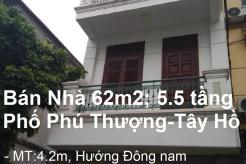Nhà hướng Đông nam,5,5 tầng có thang máy, Mặt phố Phú Thượng, Quận Tây Hồ, Hà Nội.