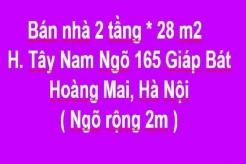 Chính chủ bán nhà 2 tầng, Tây Nam Ngõ 165 Giáp Bát, Hoàng Mai, Hà Nội