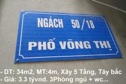 Bán nhà 5 Tầng, Tây Bắc, Ngõ 50 Phố Võng Thị, Quận Tây Hồ, Hà Nội ( Đi bộ 3 phút ra Hồ Tây)