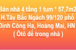 Bán nhà 4 tầng 1 tum, SĐ: 196m2, Tây Bắc, Ngách 99/120 phố Định Công Hạ,Hoàng Mai, Hà Nội
