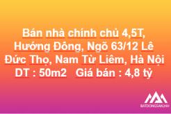 Bán nhà 4,5T x 50m2, Hướng Đông, Ngõ 63/12 Lê Đức Thọ, Nam Từ Liêm, Hà Nội