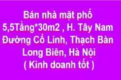 Nhà mặt phố 5,5 Tầng x 30m2, Tây Nam, Đường Cổ Linh, Thạch Bàn, Long Biên, Hà Nội