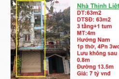 Bán nhà phân lô 63m2, Hướng Nam, 3 tầng 1 tum khu đô thị Thịnh Liệt, Hoàng Mai, Hà Nội