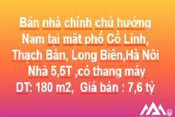 Bán nhà chính chủ, H.Nam, mặt phốCổ Linh, Thạch Bàn, Q. Long Biên, Hà Nội