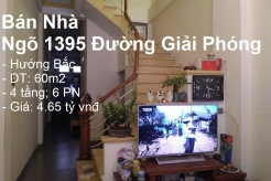 Chính chủ bán nhà DT 60 m2 x 4 tầng 1 tum, Ngõ 1395 Giải Phóng, Hoàng Mai, Hà Nội ( Ngõ Ô tô qua cửa, KD VP tốt)